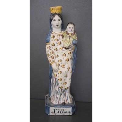 Vierge A L Enfant En Faience De Quimper 18 Eme Siècle