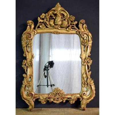 Mirror D Louis XV Carved And Gilded Wood