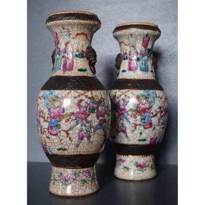Pair Of Nanjing Porcelain Vases