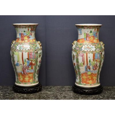 Pair Of Canton Porcelain Vases