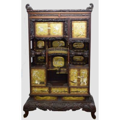 Cabinet Japon En Bois Exotique Et Laque Shibayama époque Meiji