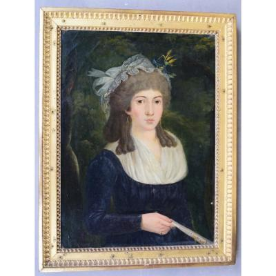 Portrait Of A Young French School Woman From The 18th Century, Dedicated On The Back. Louis XVI