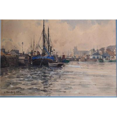Watercolor Animated View Of Boats In A Port