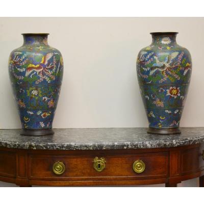 Importante Paire De Vases En Bronze Et émaux Cloisonnés