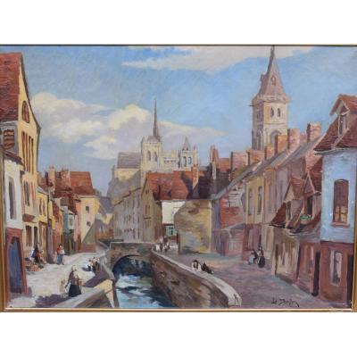 Tableau Représentant Une Vue Du Centre Historique D Amiens