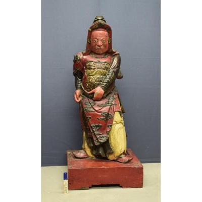 Carved And Lacquered Wooden Statue Vietnam 19 Eme