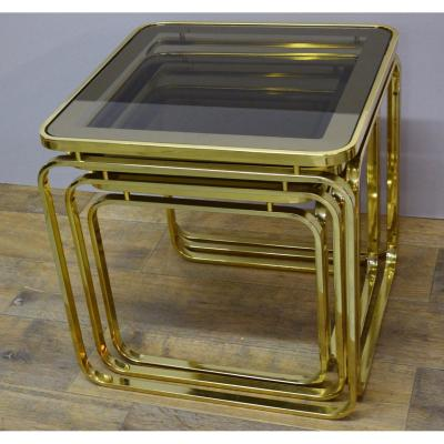 Nesting Tables 70s In Golden Brass