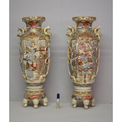 Paire de Vases En Céramique Polychrome De Satsuma