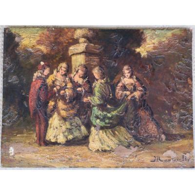 Adolphe Monticelli 1824-1886 Huile Sur Panneau