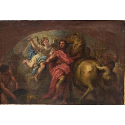 Huile Sur Toile Représentant Une Scène Mythologique XVII Eme Siècle.