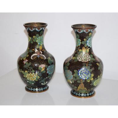 Pair Of Vases In Bronze And Cloisonne Enamels China XIX Eme