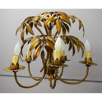 Chandelier In Golden And Patinated Metal
