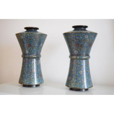 Pair Of Vases In Bronze And Cloisonne Enamels XIX Eme