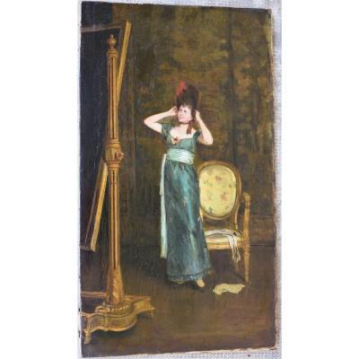 Auguste Serrure 1825-1903 Huile Sur Toile Signée