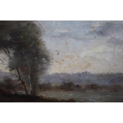 Tableau Représentant Un Paysage Signé Corot