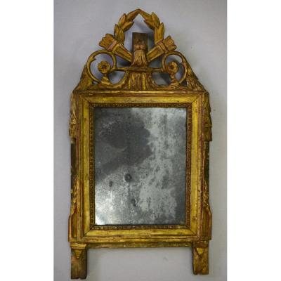 Small Mirror XVIII Eme In Golden Wood