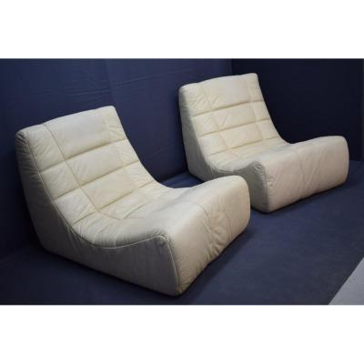 Pair Of Cinna Leather Fireside Chairs 1965