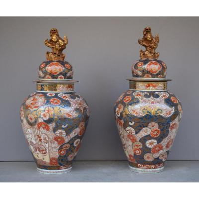 Important Pair Of Vases Covered Japan XIX Eme