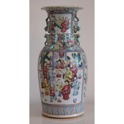 Chine Vase En Porcelaine Polychrome