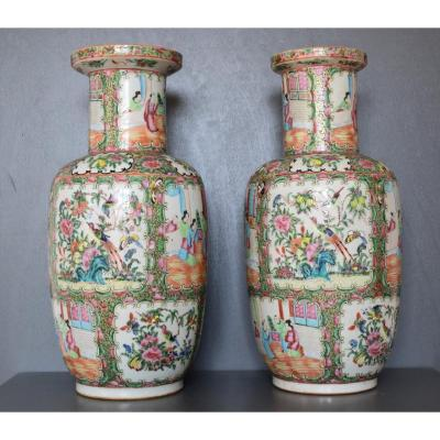 China Pair Of Canton Porcelain Vases