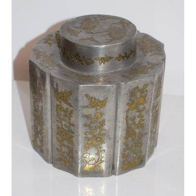 China Pewter Tea Box Brass Inlay