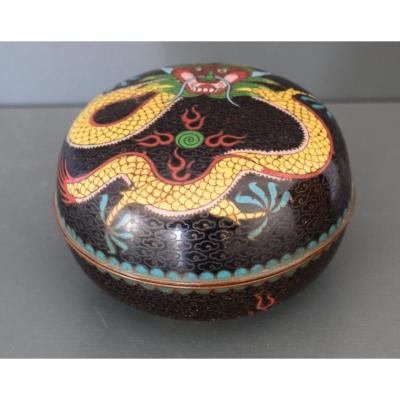 Boite Ronde En Emaux Cloisonnés Chine Fin XIX Eme