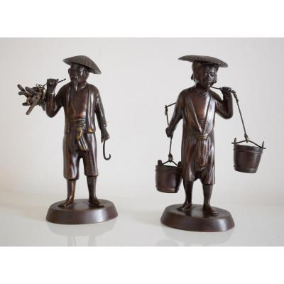 Vietnam Tonkinese Peasant Couple In Bronze