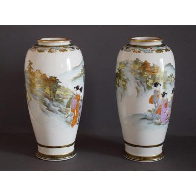 Pair Of Satsuma Faience Vases