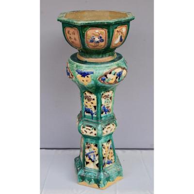 Sellette En Ceramique Polychrome Indochine Fin XIX Eme