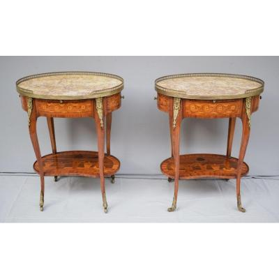 Pair Of Marquetry Living Room Tables