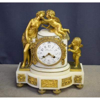 Louis XVI Clock In Marble And Gilt Bronze