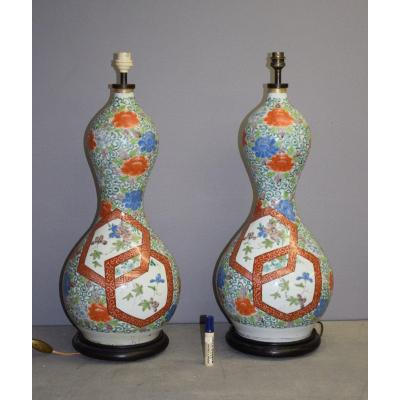 Pair Of Large Double Gourd Vases In Kutani Porcelain