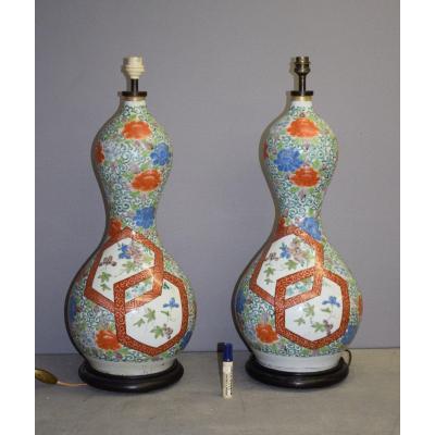 Paire De Grands Vases Double Gourde En Porcelaine De Kutani