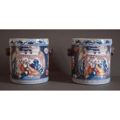 Paire De Rafraichissoirs En Porcelaine Imari XVIII Eme