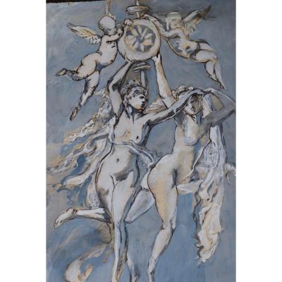 Scene Mythologique Guouache Sur Papier
