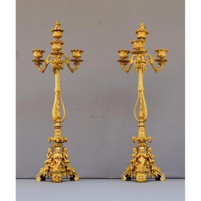 Paire De Candelabres En Bronze Doré