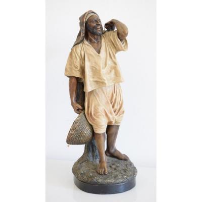 Orientalist Terracotta Sculpture By Joseph Leguluche