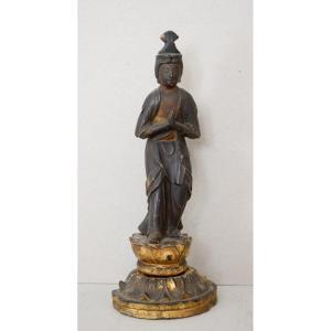 Lacquered Wood Kannon Bosatsu Statue