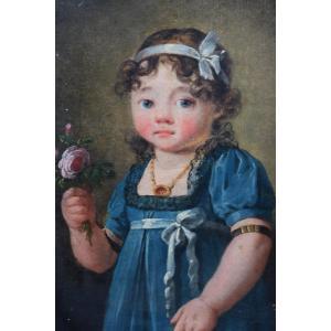 Portrait d'Une Petite Fille Attribué A Henri Nicolas Van Gorp (1756-1819)