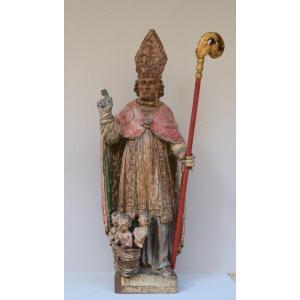 Saint Nicolas Statue In Polychrome Wood 17th Century