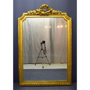 Louis XVI Style Mirror In Wood And Golden Stucco
