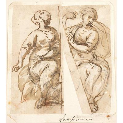 Ècole Italienne Du XVII Siècle, étude De Deux Figures Féminines