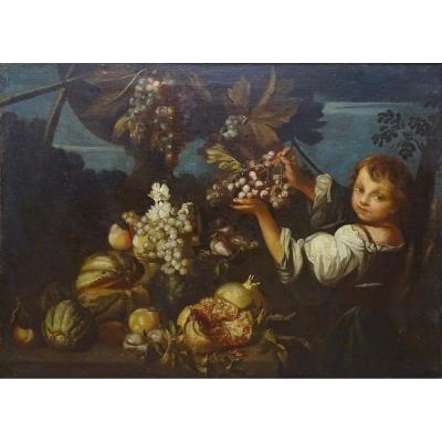 Michelangelo Pace Da Campidoglio (roma, 1610 - Roma. 1670),  Nature Morte Avec  Figure Féminine