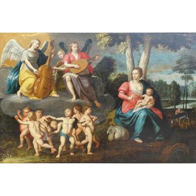 Ècole Flamande Du XVII Siècle, La Vierge à l'Enfant Entourée d'Angelots Et Anges Musiciens