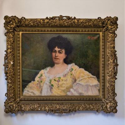 Paul-albert Laurens  (1870-1934) Portrait De Femme Avec Robe Jaune