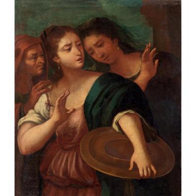 Peinture à l'Huile Sur Toile, Représentant Les Trois âges, ècole Italienne Du XVII Siècle