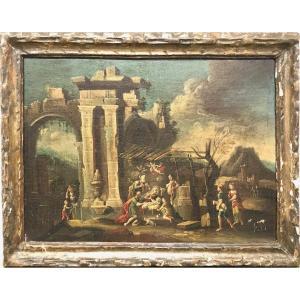 Gennaro Greco (Naples, 1663 - 1714), Capriccio Architectural Avec Naissance De Jésus