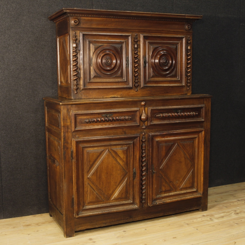 Antique French Cupboard In Walnut Wood From 18th Century
