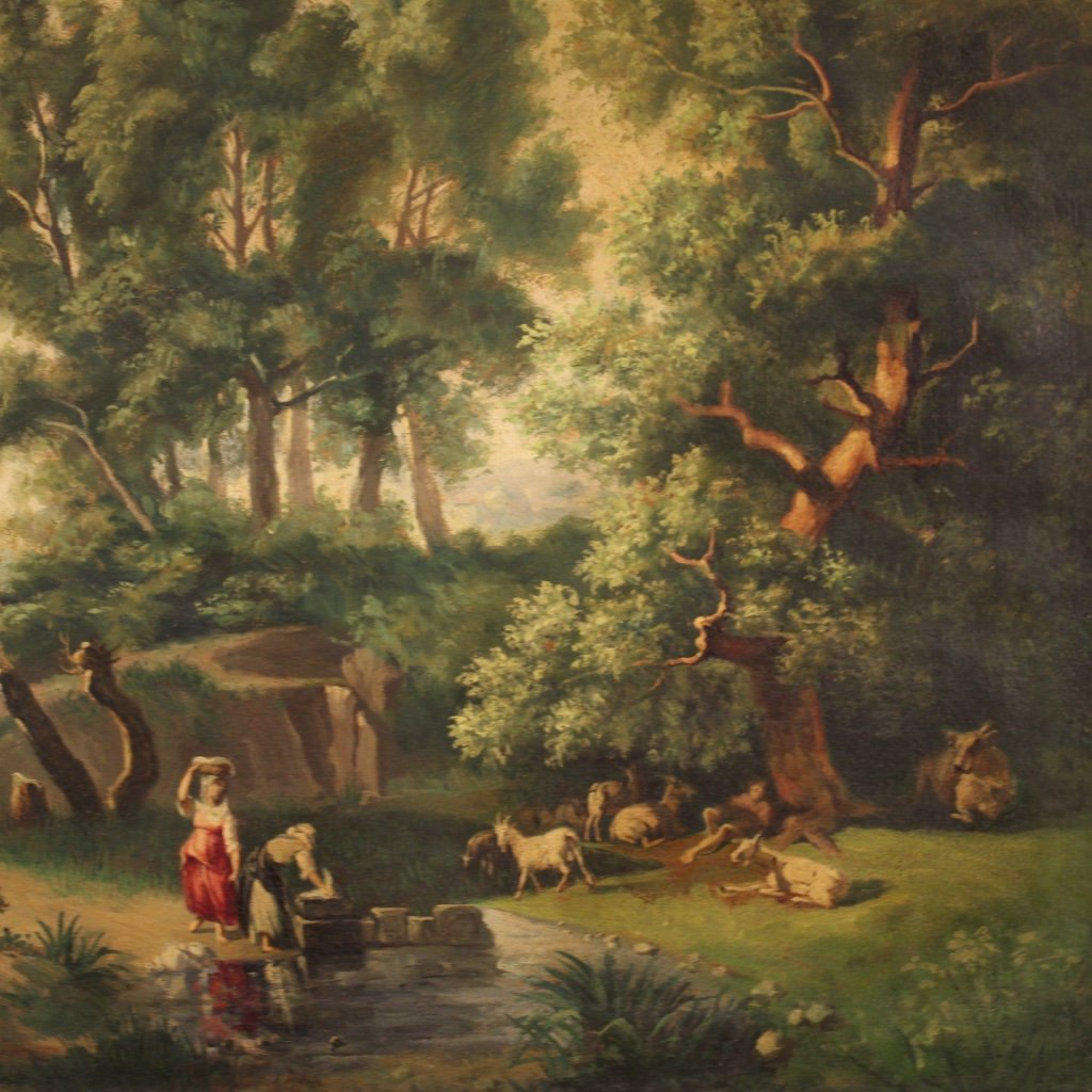 Italian Painting Landscape With Characters Oil On Canvas-photo-1