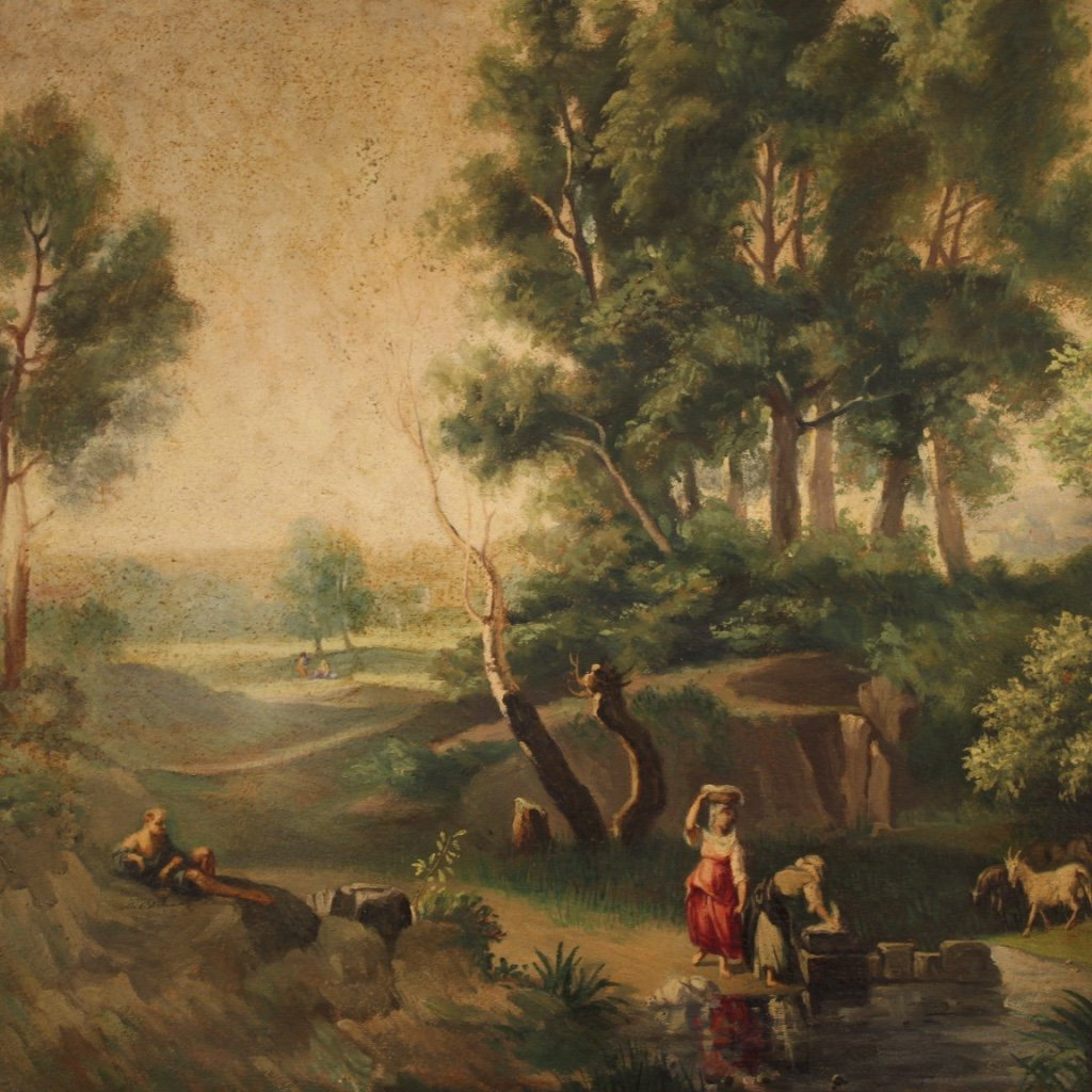 Italian Painting Landscape With Characters Oil On Canvas-photo-2